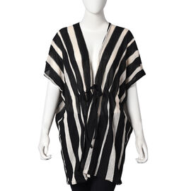 Stripe Pattern Poncho (One Size Fits All; 75x80 Cm) - Black and Beige