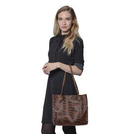 Coffee Colour Zebra Pattern Tote Bag (Size 32x11x28cm)