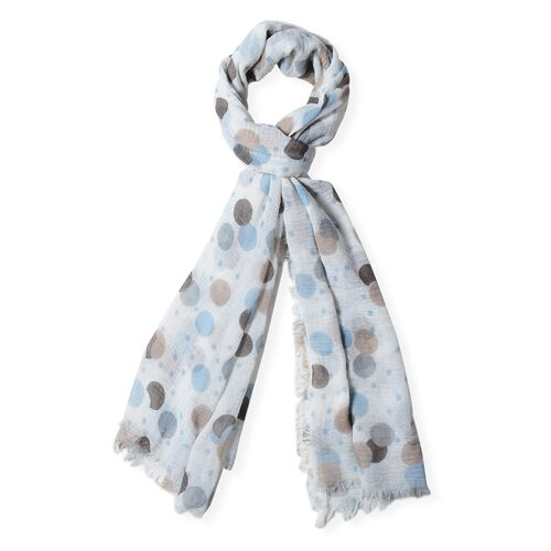 White, Light Blue and Brown Colour Dot Pattern Scarf (Size 170x90 Cm)
