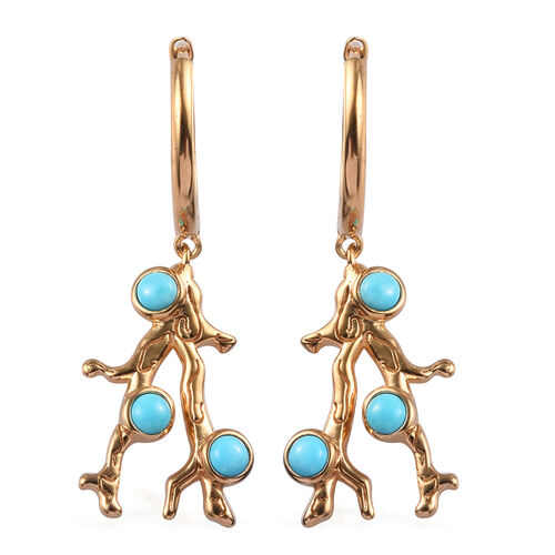 Sundays Child - Arizona Sleeping Beauty Turquoise Earrings (with Clasp) in Yellow Gold Vermeil Sterl
