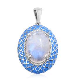 Sri Lankan Rainbow Moonstone (Ovl) Blue Colour Enameled Pendant in Platinum Overlay Sterling Silver 19.500 Ct. Silver wt 13.01 Gms.
