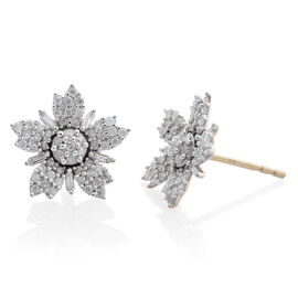 Limited Edition - 0.50 Carat SGL Certified Diamond (I3/G-H) Floral Stud Earrings in 9K Gold