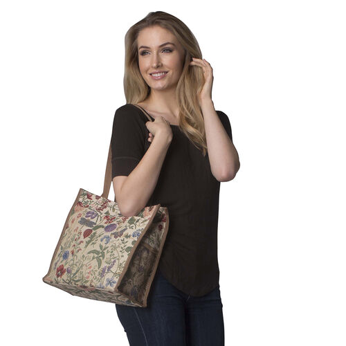 SIGNARE - 2 Piece Set Tapestry Shopping Bag with Matching Umbrella Botanical Gardens Flower - Morning Garden Design (Bag: 30 x 30x 14cms) (Umbrella: 24 x 5 x 5 cms)