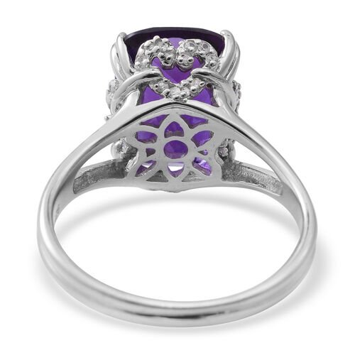 Lusaka Amethyst (Cush 6.04 Ct), Natural White Cambodian Zircon Ring in Rhodium Plated Sterling Silver 6.350 Ct.