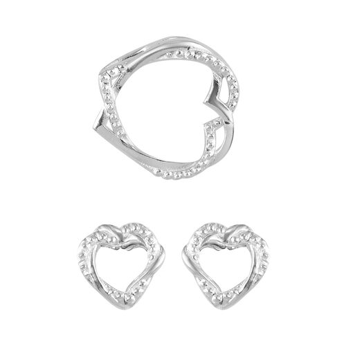 2 Piece Set -  Heart Pendant and Solitaire Stud Push Post Earring  Sterling Silver