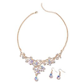2 Pcs Set White Mystic Color Glass and White Crystal Floral Necklace and Hook Earring 20 Inch