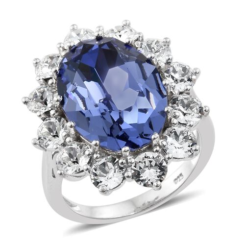 J Francis Crystal from Swarovski - Tanzanite Colour Crystal (Ovl 18x13 mm), White Colour Crystal (Rnd 4 mm) Ring in Platinum Overlay Sterling Silver