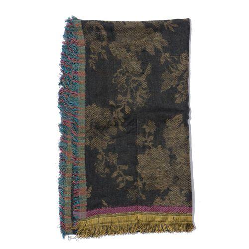 Floral Pattern Black Colour Scarf (Size 50x180 Cm)