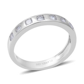 ELANZA Simulated Diamond Band Ring in Rhodium Overlay Sterling Silver