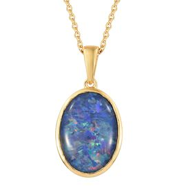 One Time Deal - Extremely Rare Size Australian Boulder Opal (Ovl) Solitaire Pendant with Chain (Size 18) in 14K Gold Overlay Sterling Silver