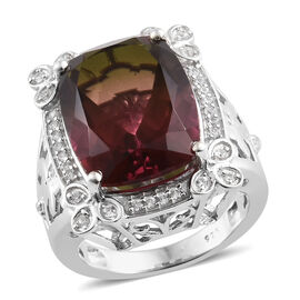 Finch Quartz (Cush 16x12), Natural Cambodian Zircon Ring in Platinum Overlay Sterling Silver 11.250