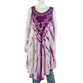 Sequin Embellished Tie-Dye Umbrella Dress with Two Side Pockets(One Size; L=105 Cm) - Purple