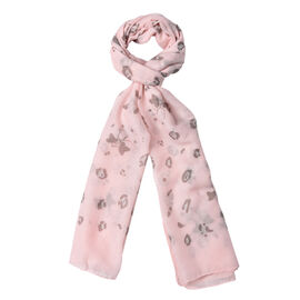 Light Peach Colour Butterfly and Flower Pattern Scarf (Size 180x70 Cm)