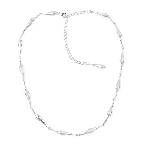 LucyQ Continual Drip Necklace (Size 17 with 4 inch Extender) in Rhodium Plated Sterling Silver 37.40 Gms.