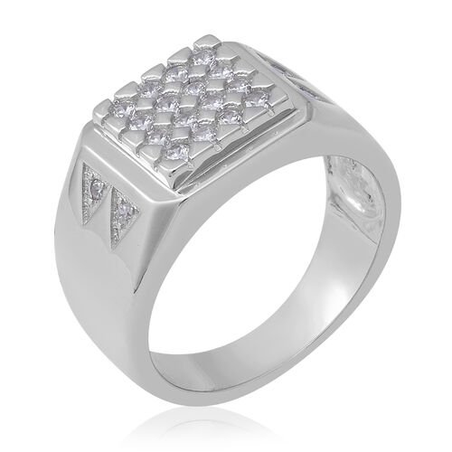 ELANZA Simulated Diamond Cluster Ring in Rhodium Overlay Sterling Silver, Silver wt 5.80 Gms
