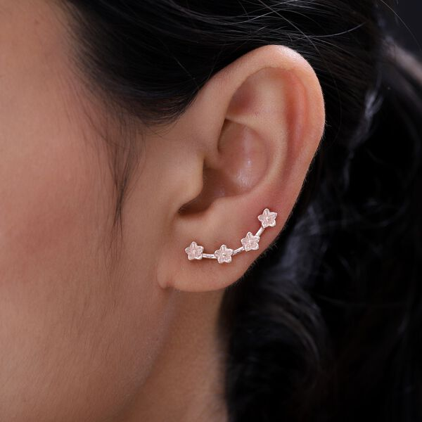 MP Rose Gold Overlay Sterling Silver Flower Climber Earrings (With Hook)