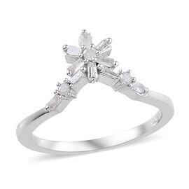 0.2 Ct Diamond Floral Wishbone Ring in Platinum Plated Sterling Silver