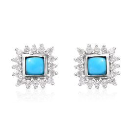 Arizona Sleeping Beauty Turquoise, Natural Cambodian Zircon Stud Earrings (with Push Back) in Platin