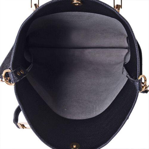 Set of 2 - Black Colour Large Handbag with Adjustable and Removable Shoulder Strap (Size 35x33x8 Cm) and Small Handbag (Size 31x27x4 Cm)