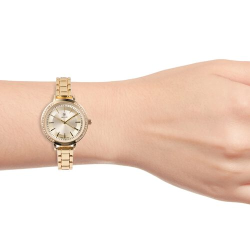 STRADA Japanese Movement White Austrian Crystal Studded Water Resistant Watch with Gold Strap
