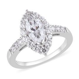 J Francis Made with SWAROVSKI ZIRCONIA Marquise Ring in Platinum Plated Silver