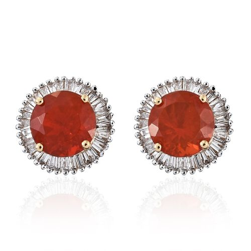 Signature Collection-ILIANA 18K Yellow Gold Extremely Rare AAAA Jalisco Fire Opal (Rnd), Diamond (SI
