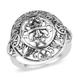 Designer Inspired - Sterling Silver Filigree Design Ring, Silver wt  3.70 Gms