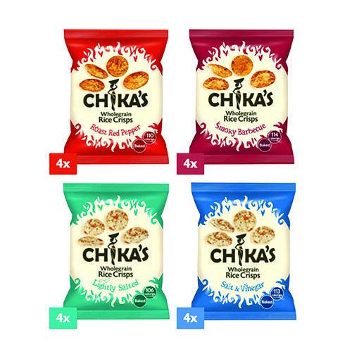 CHIKAS Rice Crisps 16 Pack (4 x Packets Smoky BBQ Rice Crisps, 4 x Packets Red Roast Pepper, 4 x Packets Salt & Vinegar, 4 x Packets Ready Salted), 16 x 25g