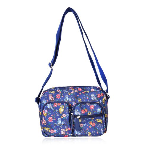 Designer Inspired - Blue, Pink and Multi Colour Floral and Birds Pattern Multi Pocket Waterproof Bag with Adjustable Shoulder Strap (Size 24X16.5X8 Cm)