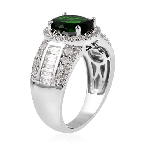Collectors Edition Russian Diopside (Ovl 10x8mm), Natural White Cambodian Zircon Ring in Rhodium Overlay Sterling Silver 4.605 Ct, Silver wt 5.72 Gms.