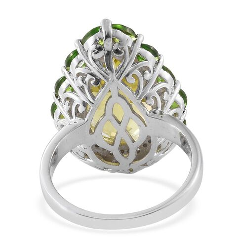 Brazilian Green Gold Quartz (Pear 13.00 Ct), Russian Diopside and Natural Cambodian Zircon Ring in Platinum Overlay Sterling Silver 15.750 Ct., Silver wt 8.41 Gms.