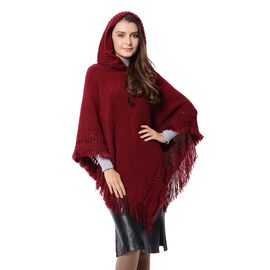 Strip and Rhombus Pattern Hoody Poncho with Tassels (Free Size) Wine Red Colour