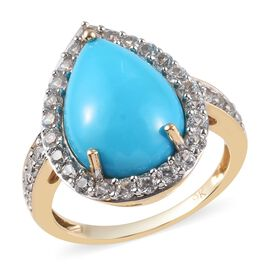 9K Yellow Gold AAA Arizona Sleeping Beauty Turquoise (Pear 14x10mm), Natural Cambodian Zircon Ring 5
