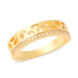 RACHEL GALLEY - Natural Cambodian Zircon Latticework Band Ring in Yellow Gold Overlay Sterling Silve