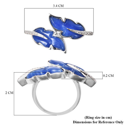 Isabella Liu Leaf Collection - Carved Blue Jade and Natural Cambodian Zircon Leaf Bypass Ring in Rhodium Overlay Sterling Silver 6.44 Ct.