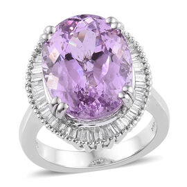 Super Auction- ILIANA 18K White Gold AAA Kunzite (Ovl 16x12 mm), Diamond (SI/G-H) Ring 12.500 Ct, Go