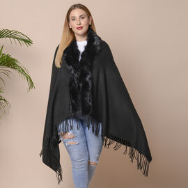 Designer Inspired Faux Fur Trimmed Cape - Black (One Size; 170x77+10cm)