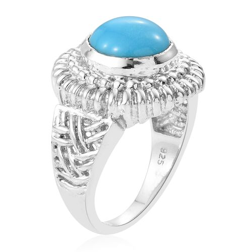 Arizona Sleeping Beauty Turquoise (Rnd) Ring in Sterling Silver 3.430  Ct, Silver wt 7.10 Gms.