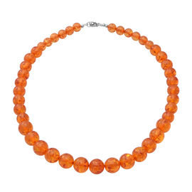 Extremely Rare AAA Natural Baltic Amber Necklace (Size - 18) in Sterling Silver 150.000 Ct.