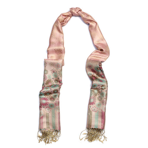 SILK MARK - 100% Superfine Silk Rose, Purple and Multi Colour Floral and Stripe Pattern Scarf (Size 190x70 Cm)