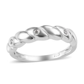 Natural Cambodian Zircon (Rnd) Band Ring in Platinum Overlay Sterling Silver