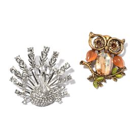 Set of 2- Simulated Champagne Diamond, White, Brown and Black Austrian Crystal and Multi Colour Gemstone Dancing Peacock and Owl Brooch in Silver and Yellow Bond