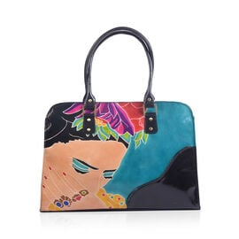 Special Edition Frida Kahlo Hand painted 100% Genuine Leather Large Tote Handbag with RFID Blocking (Size 40x28.5x7.75 Cm)