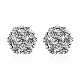 9K White Gold SGL Certified Pressure Set Diamond (I3/G-H) Stud Earrings (with Push Back) 1.00 Ct.