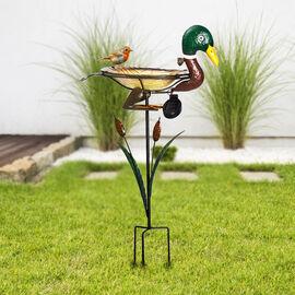 Garden Theme Duck Shaped Birdbath with Solar Light (Size 46x21.5x81cm)