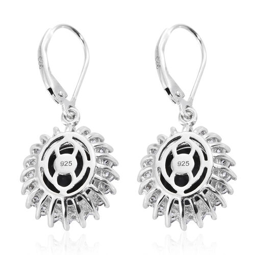 Natural Spectrolite (Ovl), Natural Cambodian Zircon Lever Back Earrings in Platinum Overlay Sterling Silver 5.750 Ct.