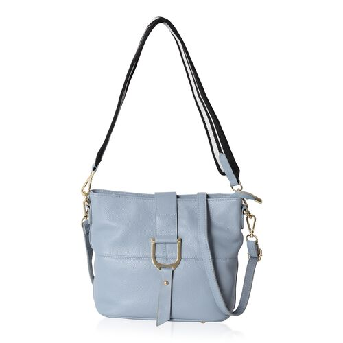 Super Soft 100% Genuine Leather Blue Colour Crossbody Bag with External Zipper Pocket (Size 29x25.5x23x13 Cm)