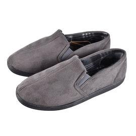Dunlop Mens Bernard Twin Elasticated Gusset Corduroy Slippers Grey