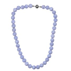 463.50 Ct Blue Agate Beaded Necklace with Magnetic Lock in Rhodium Plated Silver 20 Inch