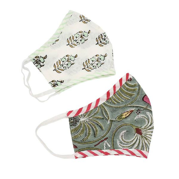 Set of 2 - 100% Cotton Hand Block Printed Reusable Double Layer Face Cover (One Size Fits All) - White and Dark Green
